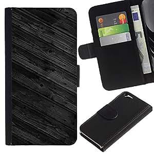KingStore / Leather Etui en cuir / Apple Iphone 6 / Pisos de Madera Muro Dise?o Arquitectura Gris