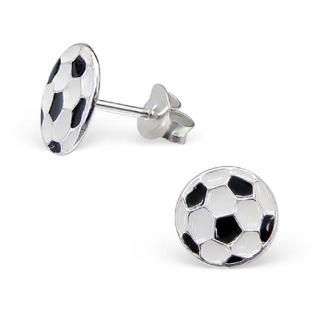 So Chic Joyas© pendientes niño balón fútbol negro & blanco plata ...