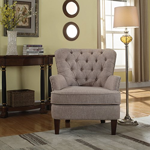 NHI Express 92005-16TP Button Tufted Chair, 31 W x 35 D x 37.5 H, Taupe