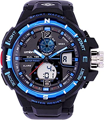 UMBRO UMB-012-2 Unisex ABS Black Band, ABS Bezel 45mm Case Digital MIYOTA AL35 SR626Sw Electronic Precision Movement Water Resistant 5 ATM Sport Watch