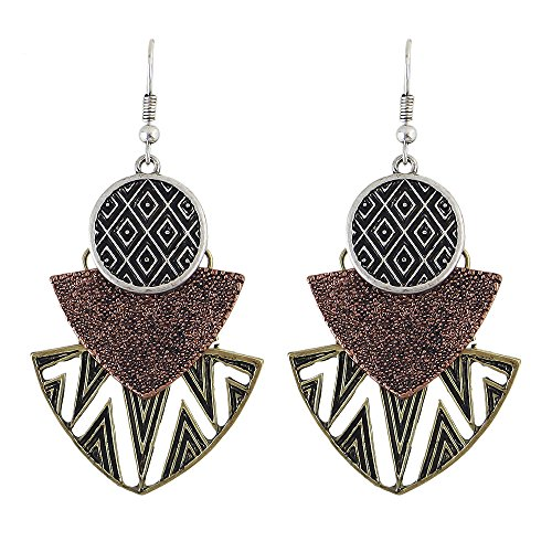 Earrings Latest New Style Fashion (Feelontop Latest Vintage Fashion Punk Style Gold Bronze Geometric Big Drop Earrings with Jewelry Pouch (Bronze))