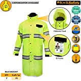 rain jacket trench - KwikSafety TORRENT | High Visibility Class 3 Safety Trench Coat | Waterproof Windproof Safety Rain Jacket | 360° Hi Vis Reflective ANSI Compliant Work Wear | Rain Gear Hideaway Hood Carry Bag | XL