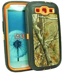 OKEBUY Natural Tough Grass Camo Shockproof Dirtproof Defender Design Military Grade Case for Samsung Galaxy SIII S3 i9300 T999 I747 (Orange)