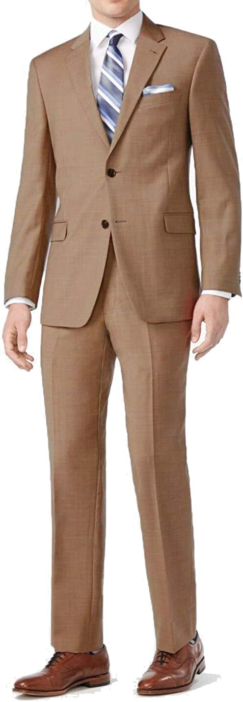 Vittorio St Angelo Mens 2 Button Khaki Beige Dress Suit