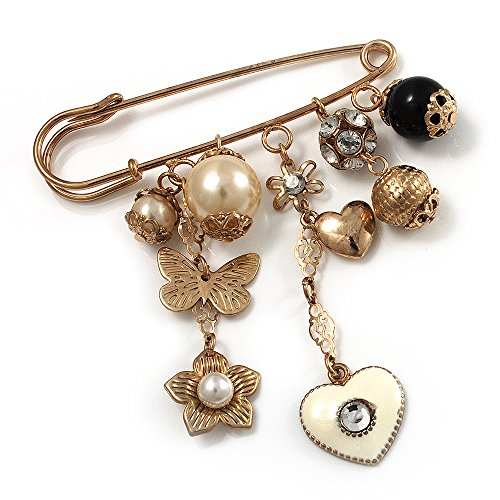 Avalaya 'Heart, Butterfly, Flower & Bead' Charm Safety Pin (Gold Tone)