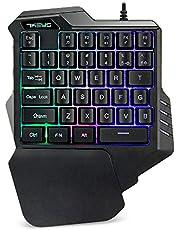 لوحة مفاتيح G30 المحمولة للألعاب بيد واحدة مع 35 مفتاحًا سريع الاستجابة بإضاءة خلفية ملونة - اسود