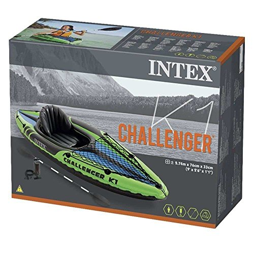 Intex Challenger K1 Kayak, 1 Person Inflatable Kayak Set with Aluminum Oars and High Output Air Pump