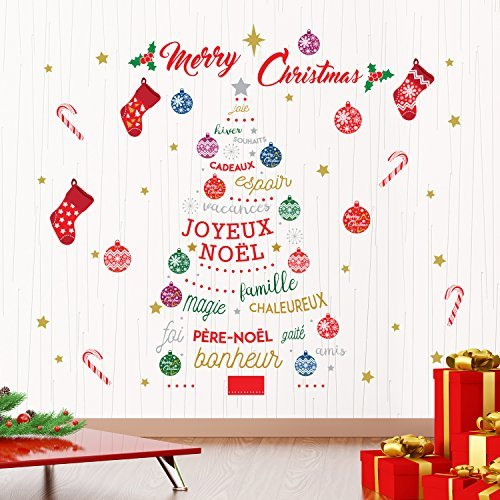 Christmas Decorations Wall Stickers U0026quot;Merry Christmas U0026 French Quotes  Christmas Treeu0026quot; Wall Murals Part 60