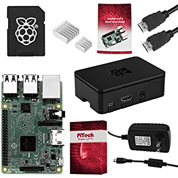 Raspberry Pi 3 COMPLETE Starter Kit, Black, 16GB Edition - Pi3 Model B Barebones Computer Motherboard 64bit Quad-Core CPU 1GB RAM, Black Pi3 Case, 2.5A Power Supply, 6FT HDMI Cable, 2 Heat Sink