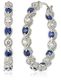 Platinum-Plated Sterling Silver Swarovski Zirconia Round Clear Blue Sapphire Inside Out Milgrain Hoop Earrings