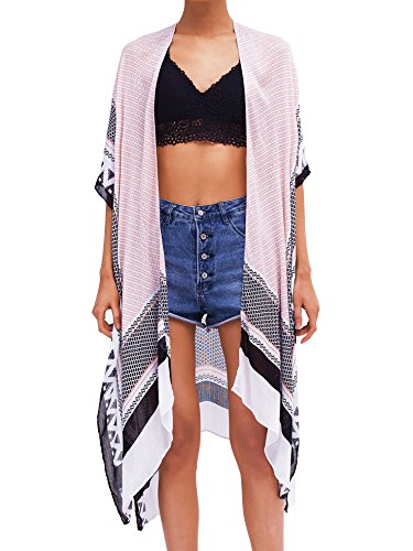 Moss Rose Women's Beach Cover Up Swimsuit Kimono Cardigan with Bohemian Floral - Bathing Up Cover Suits For