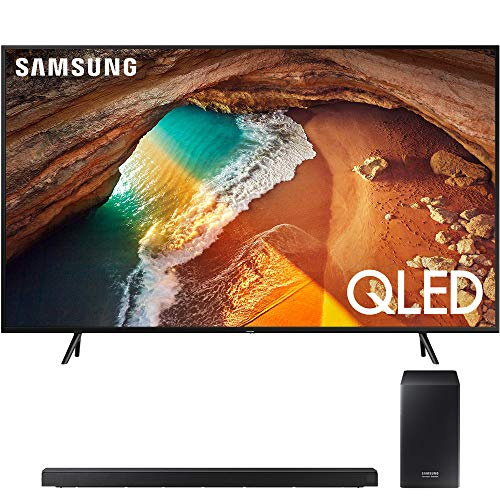 Samsung QN65Q60RA 65″ Q60 QLED Smart 4K UHD TV (2019 Model) with 510W 7.1.4-Channel Soundbar System with Wireless Subwoofer – (HWQ60R)