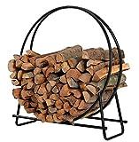 PHI VILLA 40 Inch Log Hoop Firewood Rack Fireplace Wood Storage Holder, Indoor/Outdoor Heavy Duty Iron Black