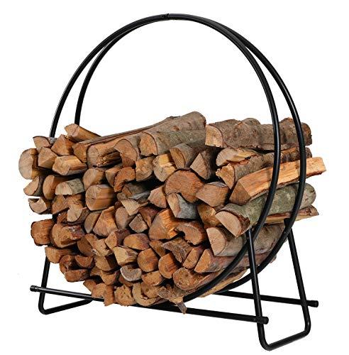 (PHI VILLA 40 Inch Log Hoop Firewood Rack Fireplace Wood Storage Holder, Indoor/Outdoor Heavy Duty Iron Black)