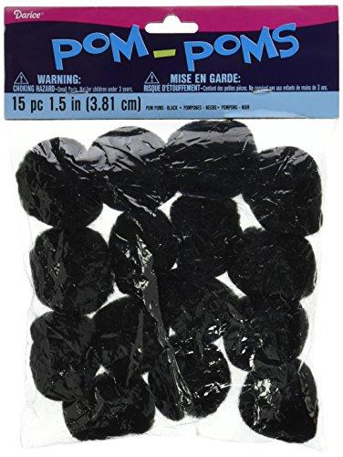 Pom Poms 1 5 15 Pkg Black