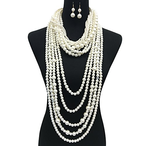 Simulated Pearl (Women's Chunky Multi-Strand Simulated Pearl Statement Necklace and Earrings Set in Cream Color (Cream - Style A))