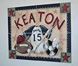 SPORTS WALL ART MURAL * 4 paintings, 16X20 inches each * custom