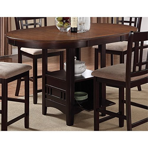 Lavon Counter Height Table with Storage Base Light Chesnut and Espresso