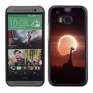 Qstar Arte & diseño plástico duro Fundas Cover Cubre Hard Case Cover para HTC One M8 ( Giraffe Moon Sun Eclipse Savannah Noght Sky)