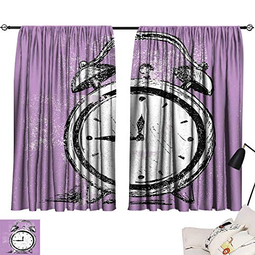 Ediyuneth Thermal Curtains Doodle,Retro Alarm Clock Figure with Grunge Effects Classic Vintage Sleep Graphic,Purple White Black 72