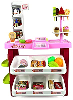 Velocity Toys Ice Cream Desserts Shop & Market Children's Kid's Pretend Play Toy Food Play Set w/ Mock Register, Working Scanner, Toy Food & Money