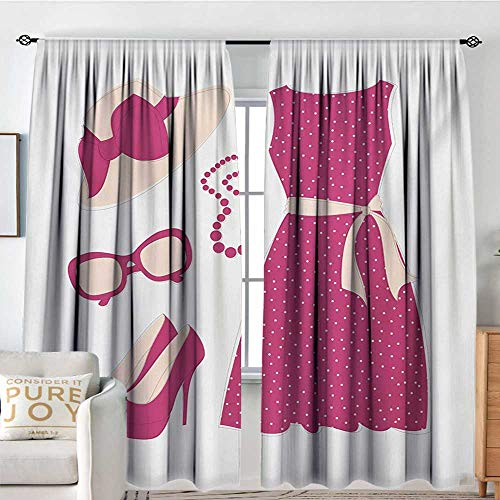 Bathroom Curtains Fashion,Pastel Colored Dress Hat with a Ribbon High Heels and Necklace Woman Clothing,Pale Peach Pink,Drapes Thermal Insulated Panels Home décor 54