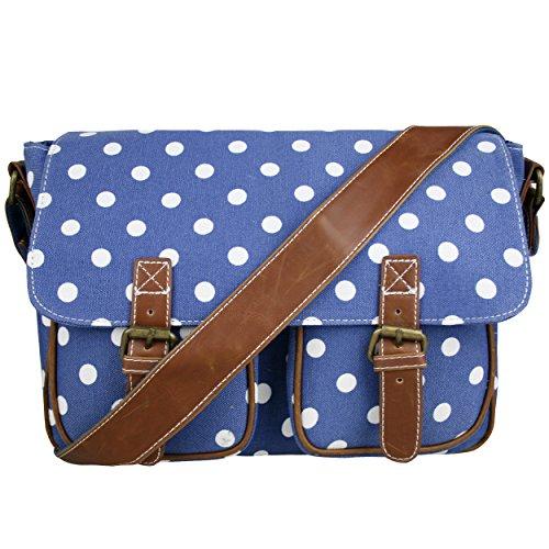 Miss Lulu Women's Canvas Satchel Bag Polka Dot Design (Navy L1157D2 NY)