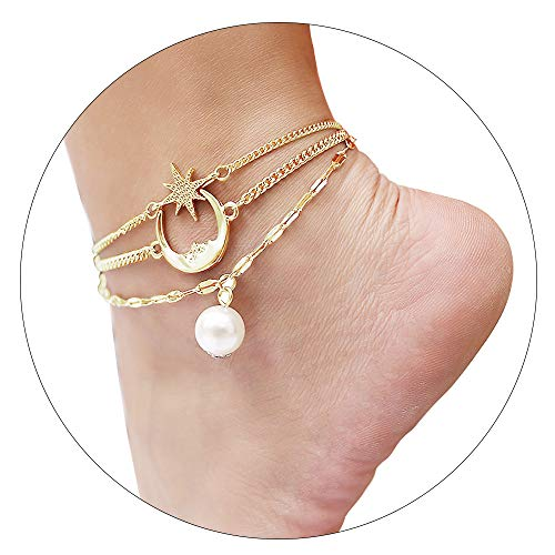 CrazyPiercing Anklet Bracelet, Star Moon Pearl Ankle Bracelet for Women, 3-Layer Chain Ankle Bracelets, Beach Anklet Bracelet, Adjustable Barefoot Sandals Beach Foot Gift for Women (Gold)