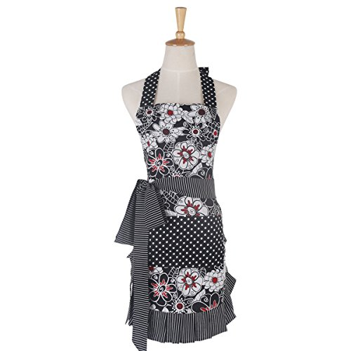 Monkeysell Aprons Women's Original Strap type Cotton printing Anti-fouling and oil Apron (Black pocket with gray flowers W007A3)