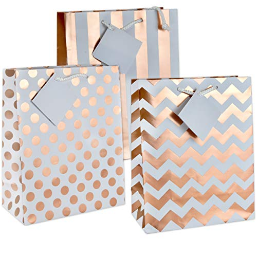 12 Gift Boutique Medium Metallic Rose Gold Gift Bags; Polka Dots, Stripes & Chevron Exquisite Designs; Birthday, Graduation, Baby Shower, Wedding Gift Bags -
