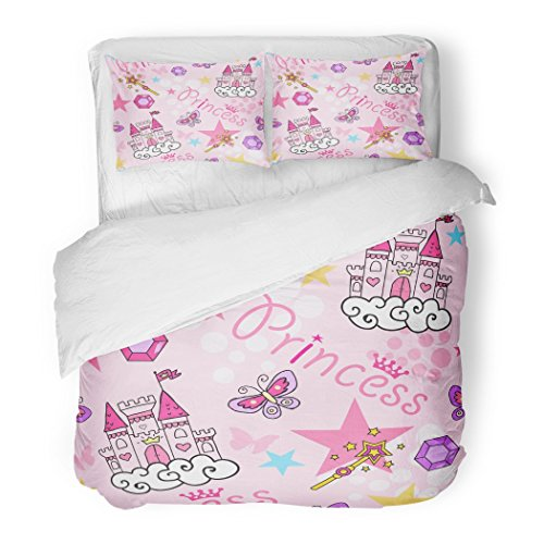 SanChic Duvet Cover Set Pink Doodle Princess with Castle Crown Butterfly Stars Diamond Abstract for Girls Baby Decorative Bedding Set with 2 Pillow Shams Full/Queen Size