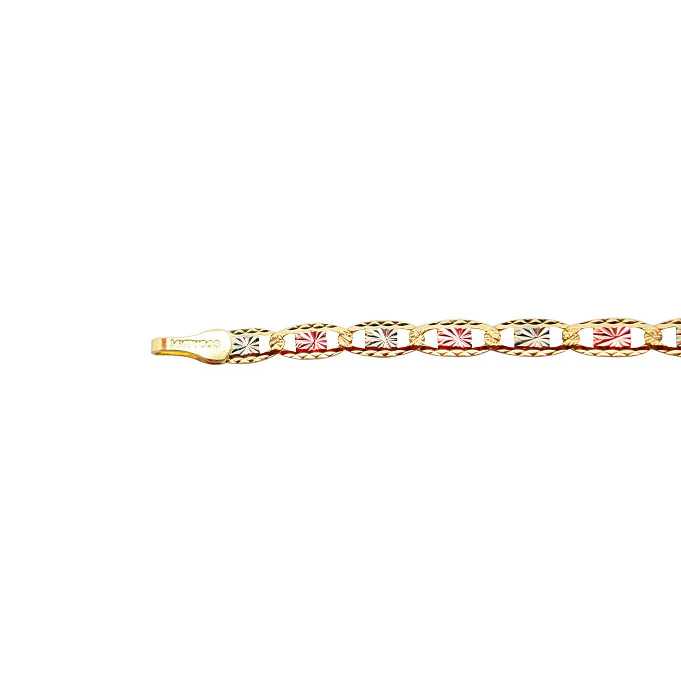 AMZ Jewelry Children Babies 14k Tri Color Gold Valentino Link ID Bracelet with Guadalupe 5.5 inch by AMZ Jewelry (Image #2)