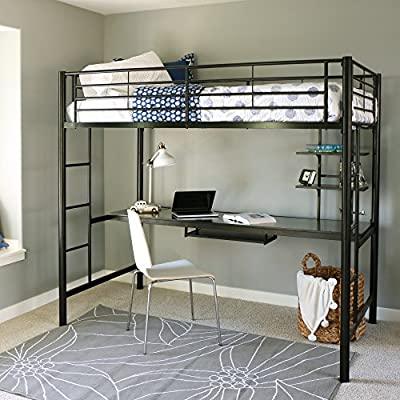 Twin over Workstation Metal Bunk Bed with Ladder, Black Ebony Finish - Sturdy, steel construction supports 250 lbs. Spacious work area with keyboard tray and shelving Ideal for space-saving needs - bedroom-furniture, bedroom, bed-frames - 516iY7DEahL. SS400  -