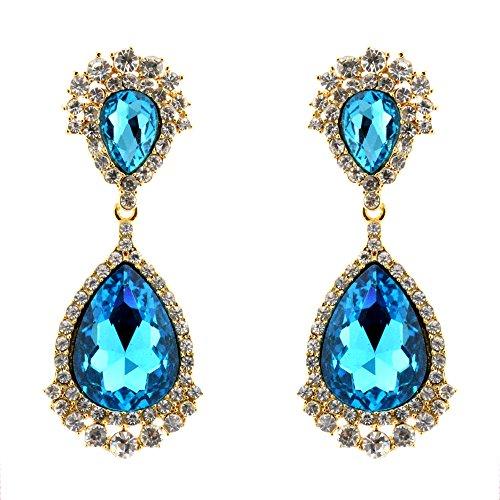 002-AQUA Fashion Party & Wedding Jewelry Tear Drop Dangle Chandelier Alloy Rhinestone Earrings (Rhinestone Wedding Chandelier Earrings)