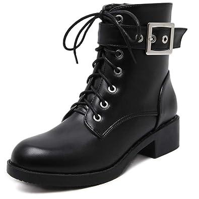 790c23cd1ee Dames Bas Block Heel Combat Bottines À Lacets Zipper Biker Bottes  Chaussures Boucle De Ceinture Rétro PU en Cuir Casual Chaussons  Amazon.fr  Chaussures  et ...