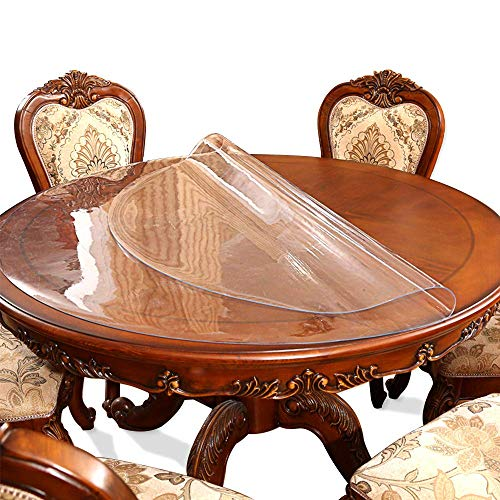 Clear Round Table Protector Tablelcloth Cover Desk Chair Pad Mat for Wooden Furniture Kitchen Coffee Marble End Side /Night Stand Table Countertop Cover Soft Glass Plastic PVC Vinyl Diameter 54'' (Table Round Glass Top 54)