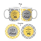 TYYC Valentines Anniversary Gifts for Couple, Proud Wonderful Husband Wife Couple Coffee Mugs Set of 4 with Coasters
