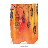 Custom printed Throw Blanket with Traditional Islamic Lanterns Garland Arabesque Middle Eastern Oriental Artwork Orange Vermilion Black Super soft and Cozy Fleece Blanket