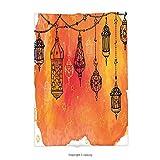 Custom printed Throw Blanket with Traditional Islamic Lanterns Garland Arabesque Middle Eastern Oriental Artwork Orange Vermilion Black Super soft and Cozy Fleece Blanket