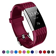 Fitbit Charge 2 Band, Kutop Soft Silicone Replacement Watchband Sports Fitness Strap Bands for Fitbit Charge 2 Wristband Accessory Long Small for Girl Boy Men Women