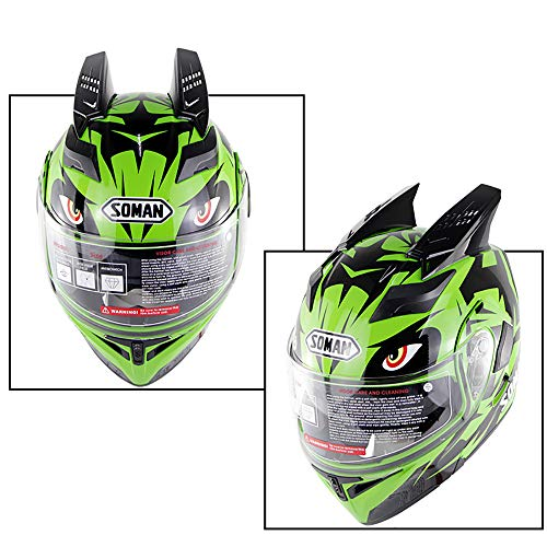 DYM258 Adult Motocross Helmets Full Face Flip UP Motorcycle Motorbike Helmet Antifogging Dual Lens Double Corner D.O.T Approved Man Women for - Mount Quick Strap Goggle