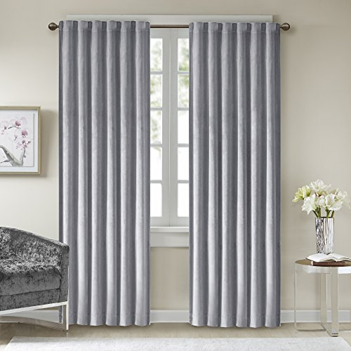 Comfort Spaces - Poly Velvet Window Curtain Pair 4pc set - Light Grey - 50x84 Inch Panel - Energy Efficient Saving - Curtain Rod Pocket - Include 2 Panels and 2 Tiebacks (Velvet Panels)