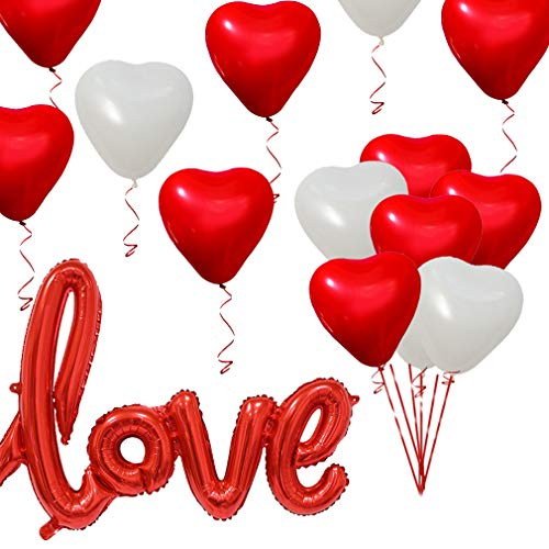 Red Love Balloons and Heart Shape Balloon, Valentines Day Decorations and Gift Idea for Him or Her, Romantic Wedding Bridal Shower Anniversary Engagement Party Decor -