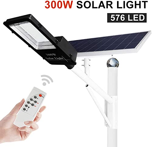 ECO-WORTHY 300 W Solar Street Flood Lights Outdoor Lamp, 576 LED White 6500K with Remote Control Dusk to Dawn Security Lighting for Yard, Garden, Gutter, Basketball Court, Arena, Lawn 77000mAh 246Wh