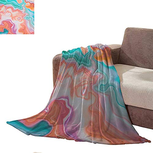 Sleeper Taggies (Anniutwo Super Soft Lightweight Blanket Abstract Marbled Background Decorative Agate Texture Liquid marbling Creative Painted Wallpaper red and Blue Wavy Lines Plush Throw L90 xW70)