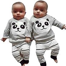 Kehen 2PCS Toddler Unisex Autumn Cute Panda Pattern Gray Cotton Long sleeve Top + Striped Pants Outfits Clothing Set