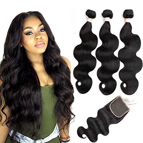 Beauhair Brazilian Body Wave Virgin Human Hair Bundles with Closure (22 24 26 with 20 closure) Unprocessed Bundles with Lace Closure Body Wave Hair with Closure 4X4 Lace Free Part Natural Black Hair