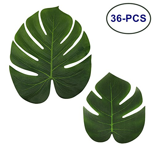 LJDJ Tropical Leaves Palm - Set of 36 - Artificial Silk Fabric Monstera Decoration Leaf 2 Different Sizes - Hawaiian Luau Jungle Beach Theme Party Supplies Table Decor (Palm Tree Table Decorations)