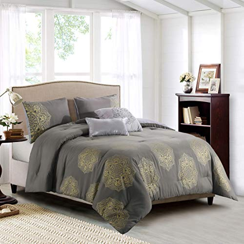 Curated Home Ginette 5-Piece Printed Comforter Set, Full/Queen