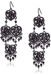"Betsey Johnson ""Pitch Black"" Woven Faceted Bead Heart Chandelier Drop Earrings"
